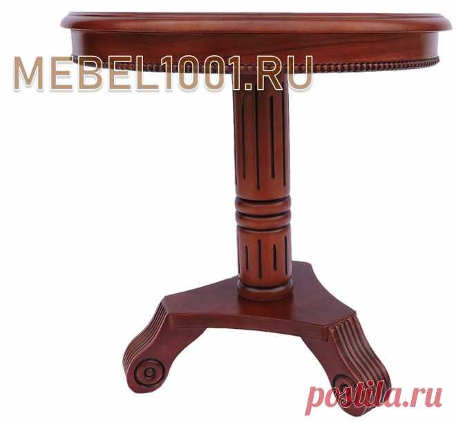 Tea table made of malaysian oak, round table top covered with lacquer.  Столик изготовлен в классическом стиле из твердых пород дерева. Затонирован под цвет темный орех, покрыт 3-мя слоями глянцевого лака. Столешница круглая, резная окантовка. Подстолье изготовлено из цельного дерева. Размеры: 600х600 мм. Материал: малазийский дуб. Высота столика 600 мм, диаметр столешницы 600 мм