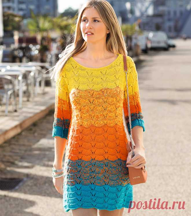 разноцветное платье схема вязания спицами вяжем платья на Verena