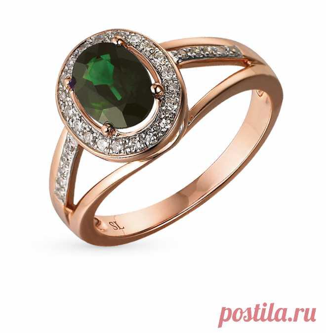 Золотое кольцо с бриллиантами и изумрудами SUNLIGHT  красное и розовое  золото, изумруд, бриллиант 74c4c9b7b13
