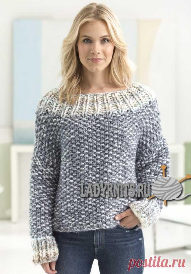 "Stylish ""Зимний парк"" jumper; from a thick yarn spokes of the big size. Sizes: XS\/S, M\/L. \/ www.ladyknits.ru"