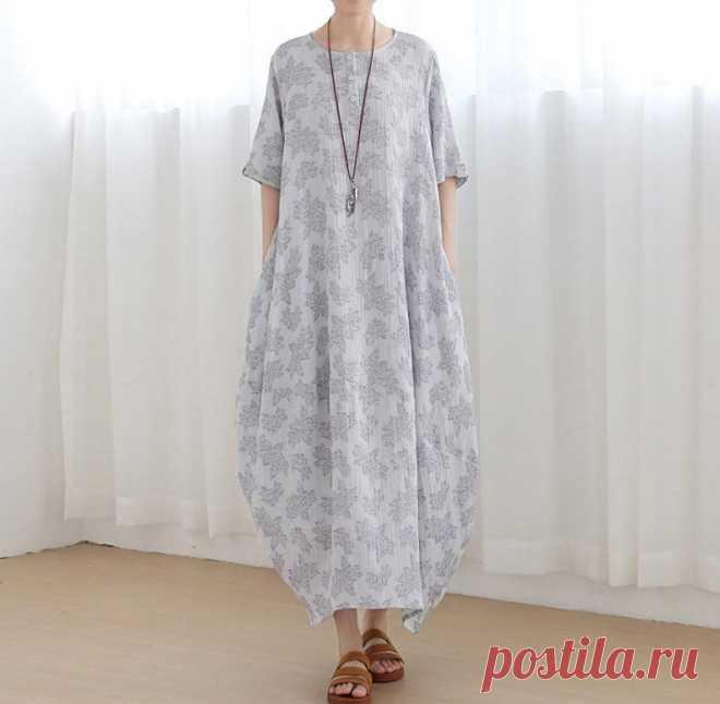 Light gray long dress linen dress holiday long dress summer | Etsy