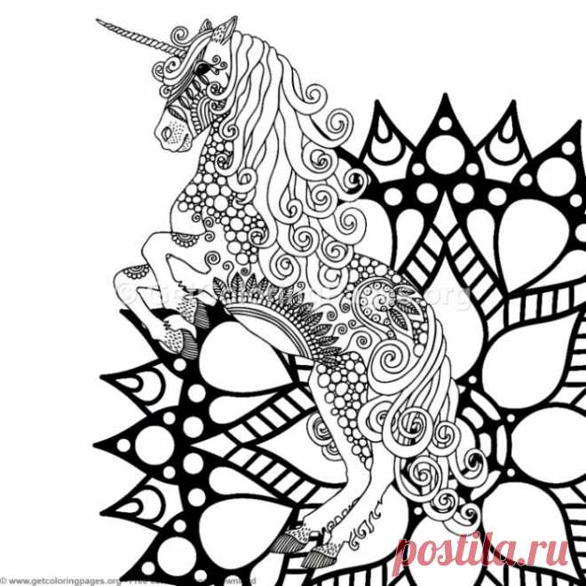3 Zentangle Unicorn And Mandala Coloring Pages