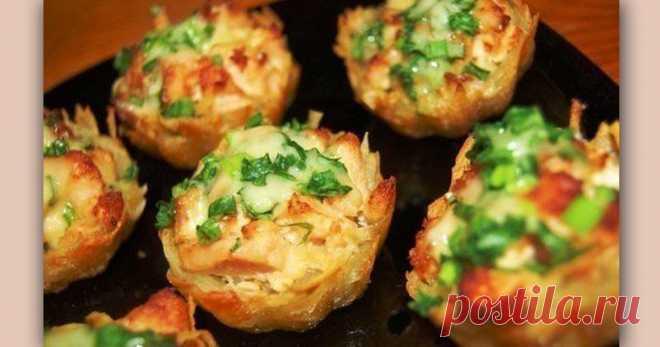 Картофель с курицей под чесночным соусом в тарталетках • Сияние Жизни