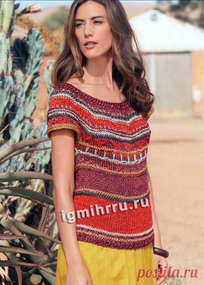 Летний разноцветный пуловер с жаккардовыми узорами. Вязание спицами со схемами и описанием