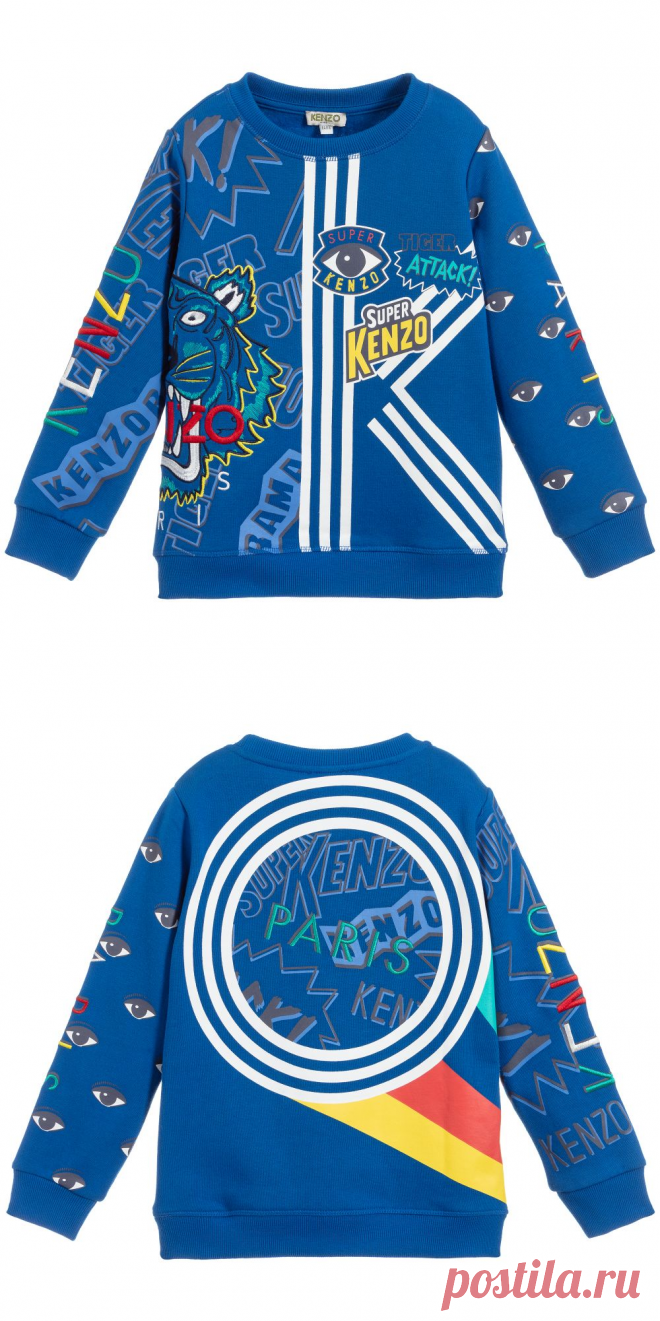 Kenzo Kids - Boys Blue Cotton Sweatshirt | Childrensalon