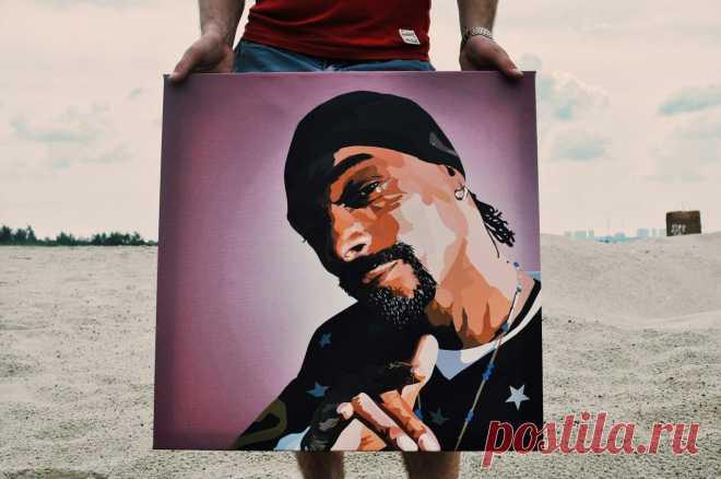 Картина Snoop Dogg - король американского хип-хопа, вечно накуренный Снуп Доги Дог.  Картины на холсте Black Icon - http://vk.com/blackiconart