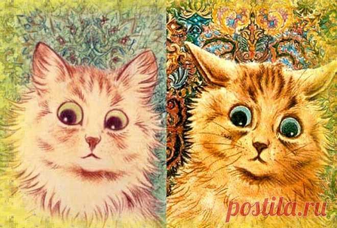 Как прогрессирует шизофрения (на примере творчества известного художника) Луи Уэйн был известным английским художником. Он прославился своими многочисленными изображениями котов. Характерной их особенностью было то, что они часто носили человеческие черты или вели себя как люди. Эти забавные антропоморфизированные коты играли на музыкальных инструментах, подавали чай, перекидывались в карты,... Читай дальше на сайте. Жми подробнее ➡