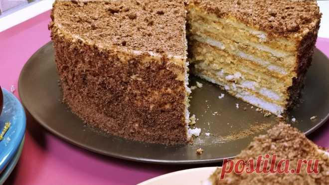 Большой красивый торт своими руками, без выпечки, быстро и просто: рецепт из магазинных коржей со сгущенкой   Рекомендательная система Пульс Mail.ru