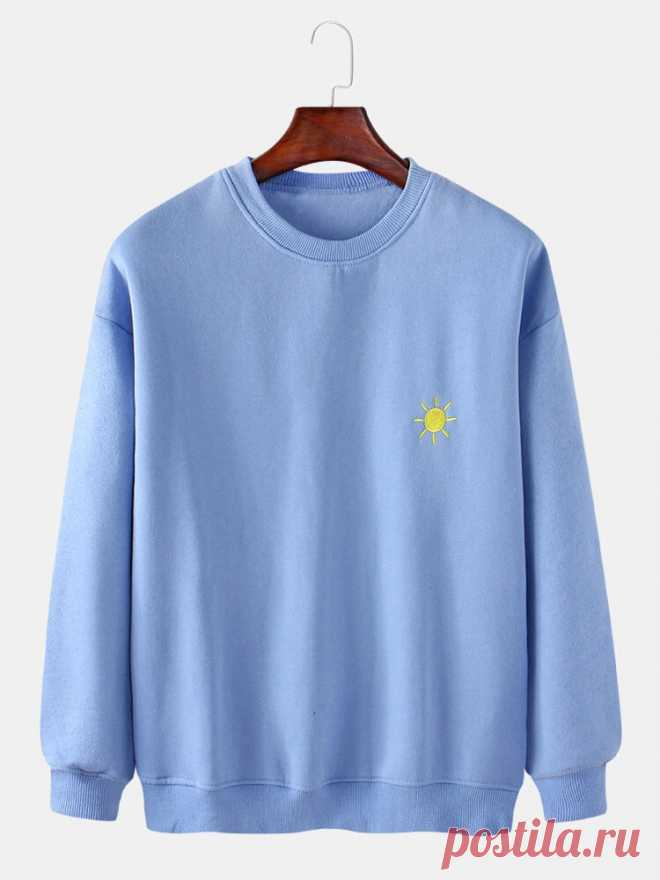 Mens Cotton Weather Symbol Embroidery Round Neck Long Sleeve Pullover Simple Sw - US$24.99