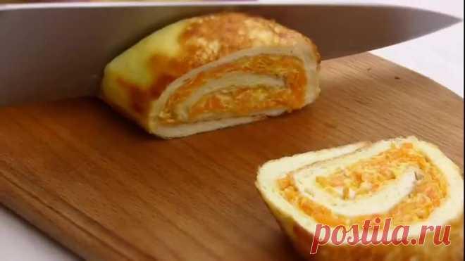 Отличная закуска за копейки! Нежный яичный рулет с вкуснейшей начинкой