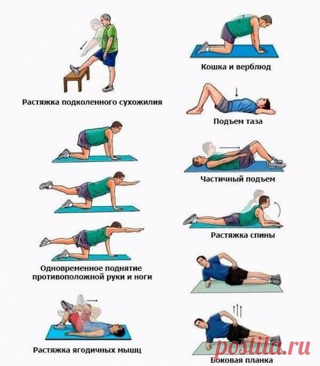 Se libramos del dolor en la parte inferior de la espalda: 8 ejercicios simples