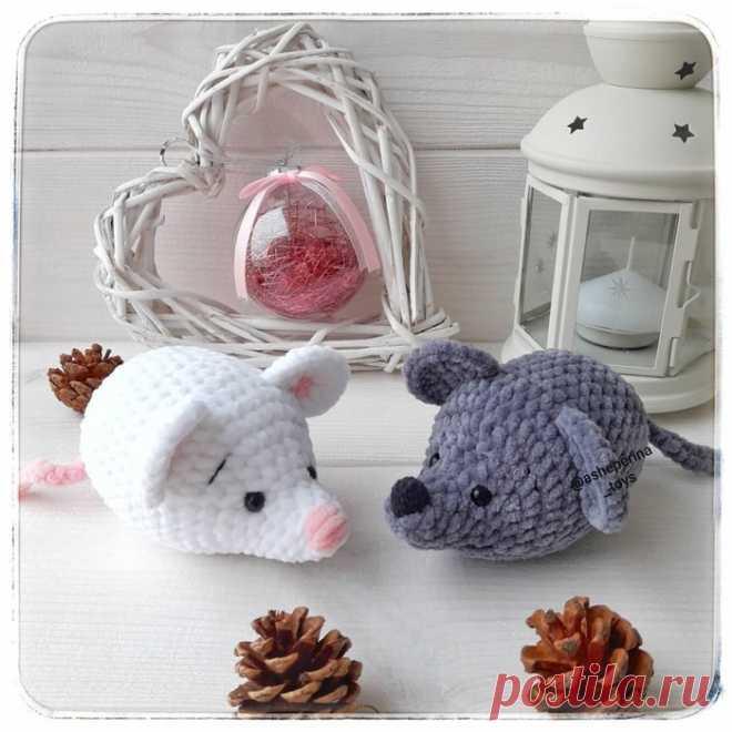Вязаные мышки из плюшевой пряжи