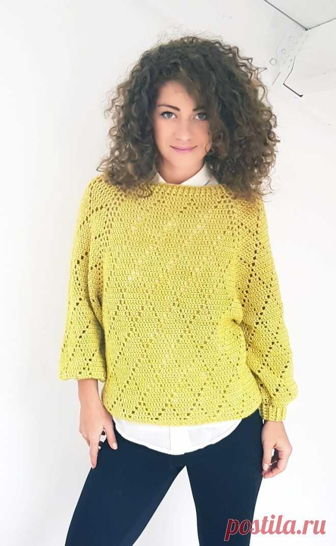 жёлтый свитер вязаный крючком вязание постила