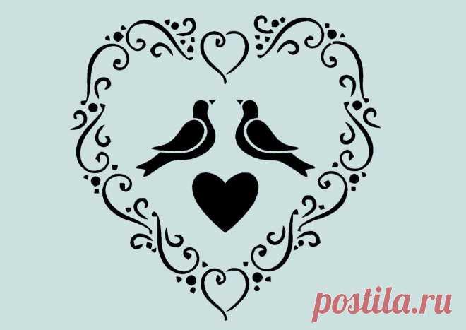 Schablone** - Herz, Vögel - **A4****für Stoffe, Möbel usw.- ** Nr.: 951 | eBay