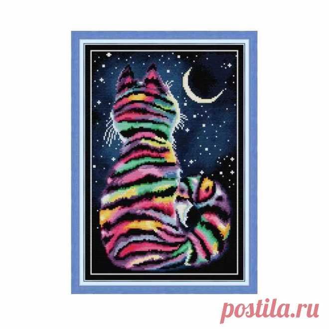 Полосатая ткань для вышивки котом, вышивка крестом Aida 14ct, счетный принт, холст для вышивки, набор 11ct, ручное рукоделие, домашний декор|Упаковка| | АлиЭкспресс