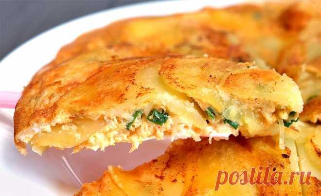 Картофель с яйцами и сыром на сковороде