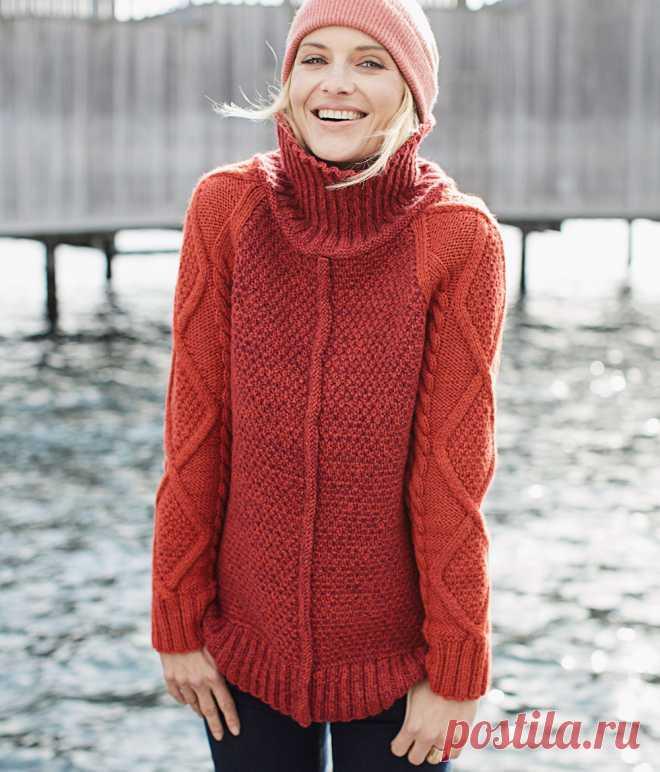 свитер из пряжи двух цветов схема вязания спицами вяжем свитеры