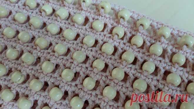Простой узор крючком с бусинами | Anna Gri Crochet | Яндекс Дзен