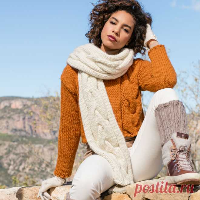 Пуловер и шарф с «косой» - схема вязания спицами. Вяжем Комплекты на Verena.ru