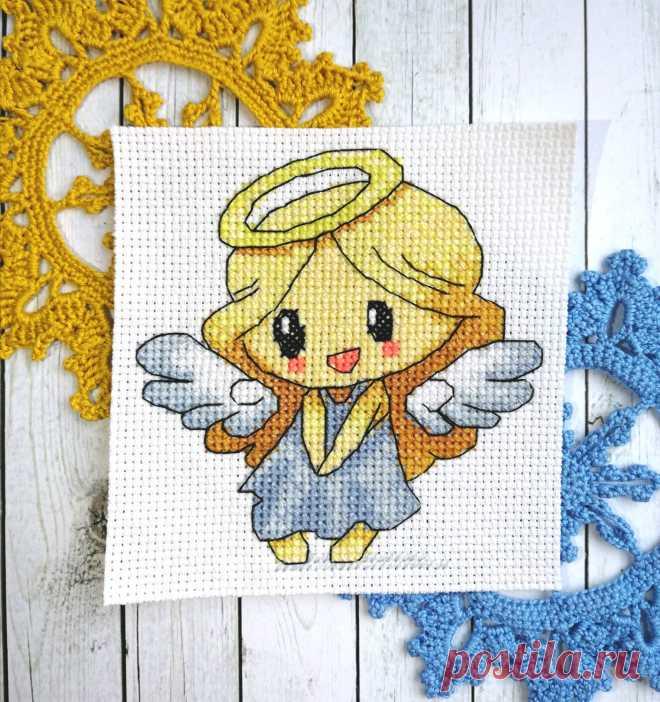 """Схема вышивки """"Маленький ангел"""". Моя, авторская."""
