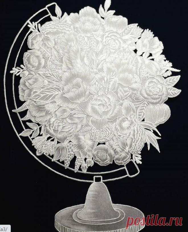 """""""Цветочный глобус"""" техника парчмент крафт."""