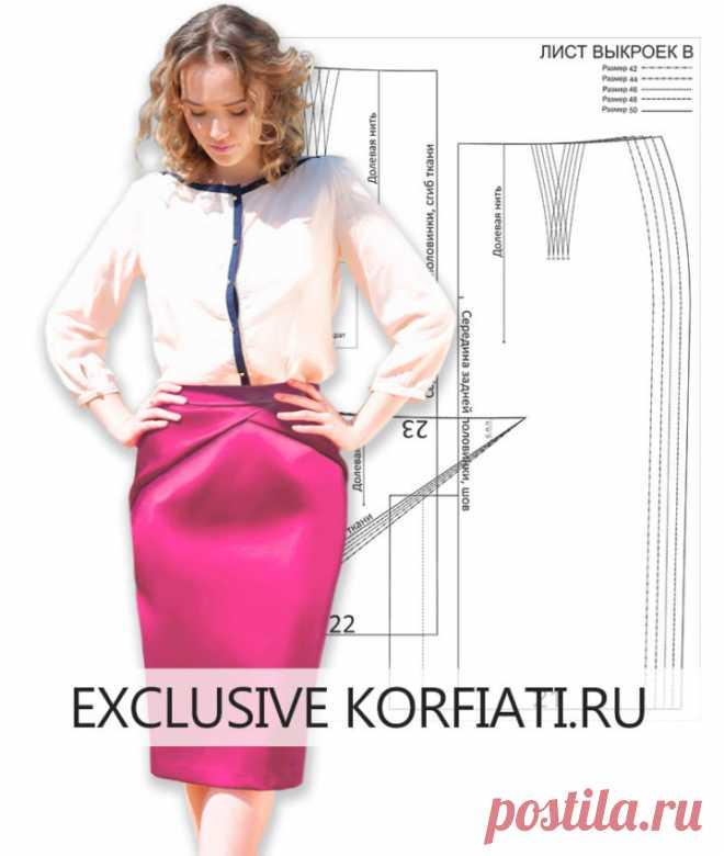 Скачайте готовую выкройку юбки-карандаш от Анастасии Корфиати