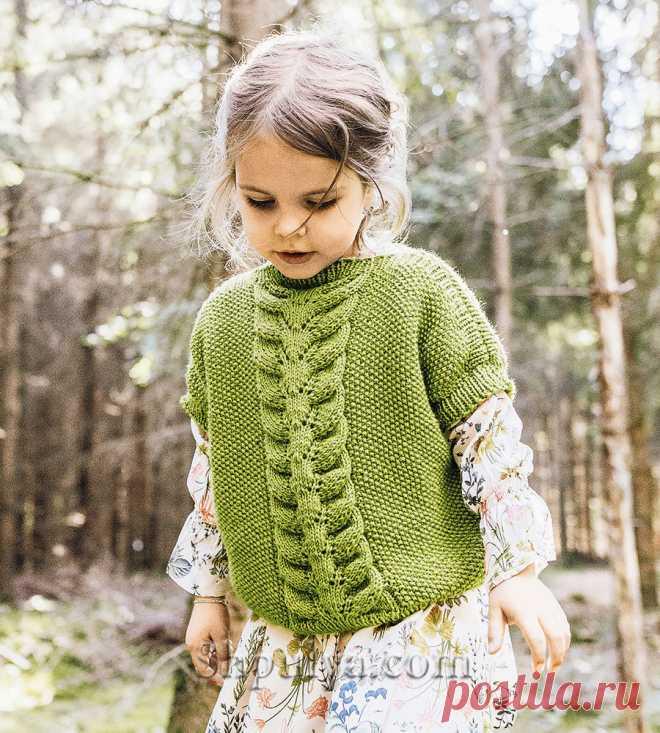 Безрукавка с ажурной косой для девочки. — Shpulya.com - схемы с описанием для вязания спицами и крючком