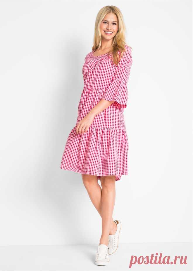 Платье из крепа, дизайн Maite Kelly ярко-розовый гибискус/белый в клетку - bpc bonprix collection заказать онлайн - bonprix.ru