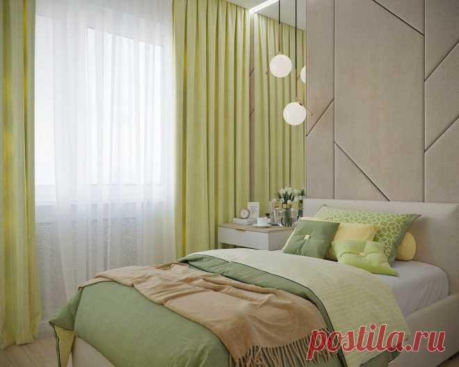 Спальня в нежнейших зеленых оттенках, в которой всегда царит весна