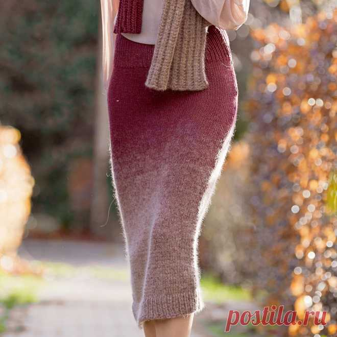 Облегающая юбка с градиентом - схема вязания спицами с описанием на Verena.ru