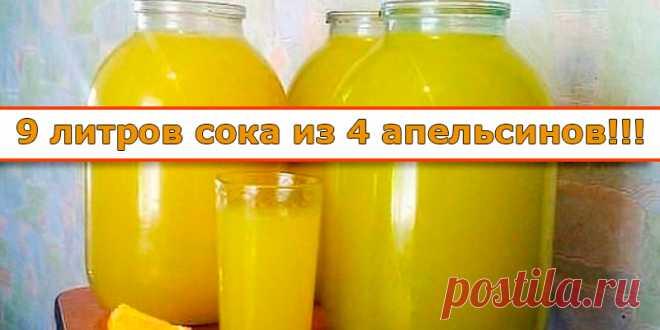 9 литров сока из 4 апельсинов | Полезные советы