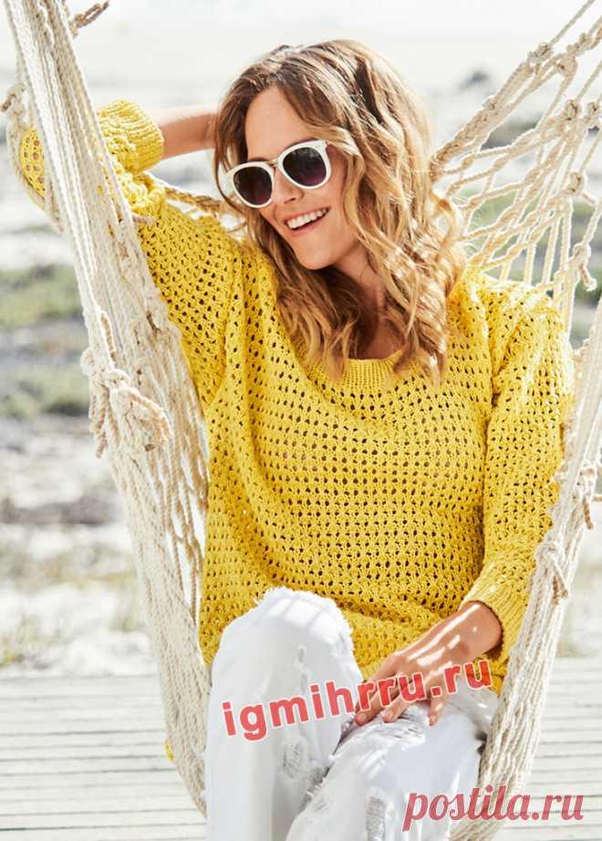 Слегка небрежный ажурный пуловер свободного кроя схемы вязать спицами