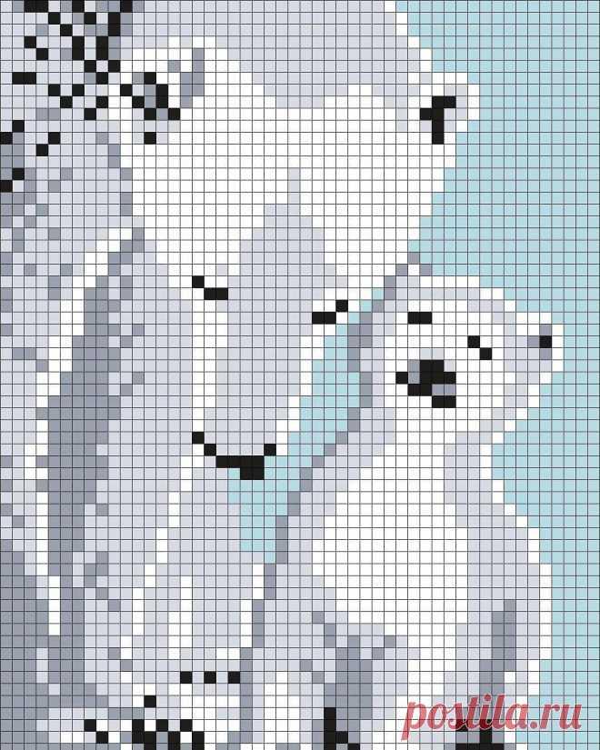 Схемы белых медведей для жаккарда Если Вы увлекаетесь жаккардовым вязанием, то эти схемки помогут определиться с выбором узора для джемпера мужественному мужчине.