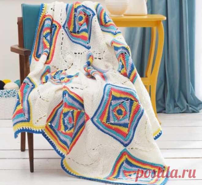 Плед из спиральных квадратов крючком. Схема. / knittingideas.ru