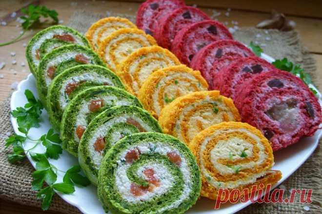 Разноцветные закусочные рулеты
