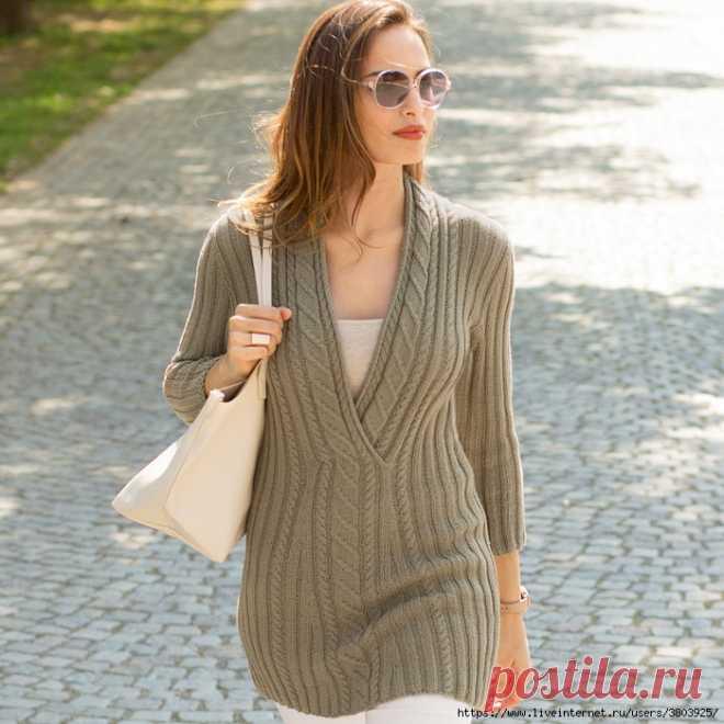 Безупречно элегантный удлиненный пуловер с «косами»
