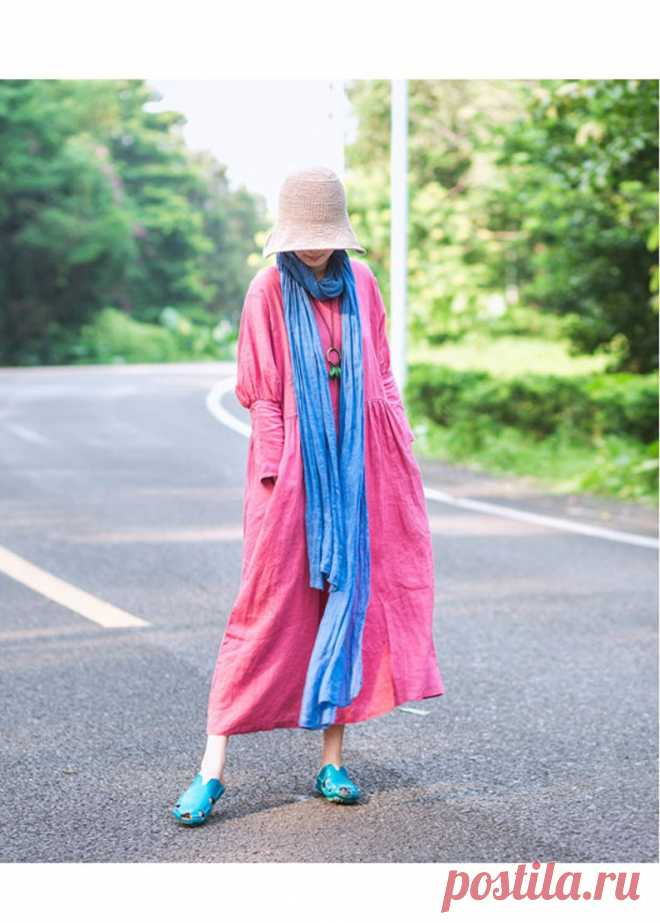 Pink woman Soft Long Robes Casual Loose Linen summer dresses   Etsy