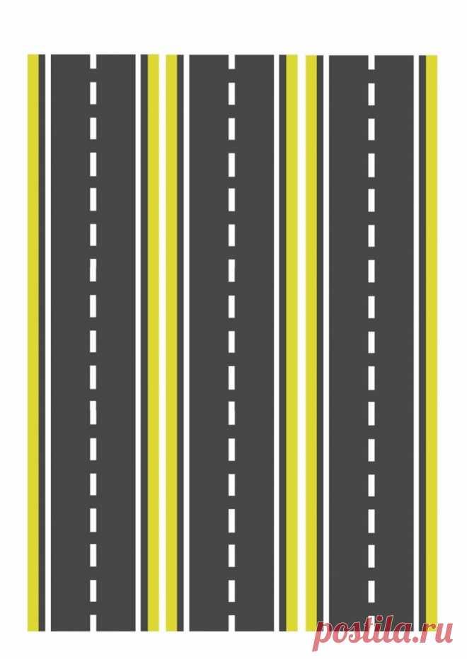 Узкая желтая дорога для машинок - Все для детского сада