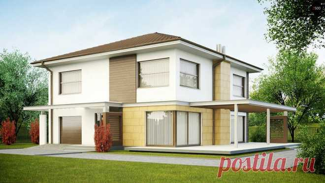 Zx2 Элегантный двухэтажный дом с гаражом и антресолью над гостиной