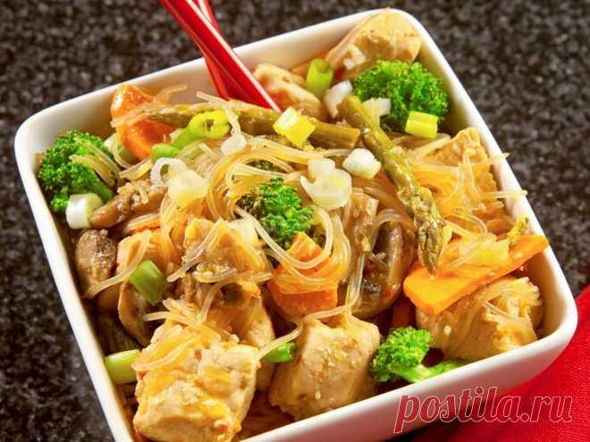 Фунчоза с курицей и грибами рецепт с фото - 1000.menu