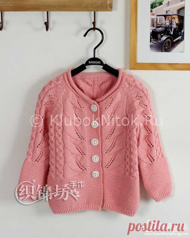 стильная кофта с листиками вязание для девочек вязание спицами и