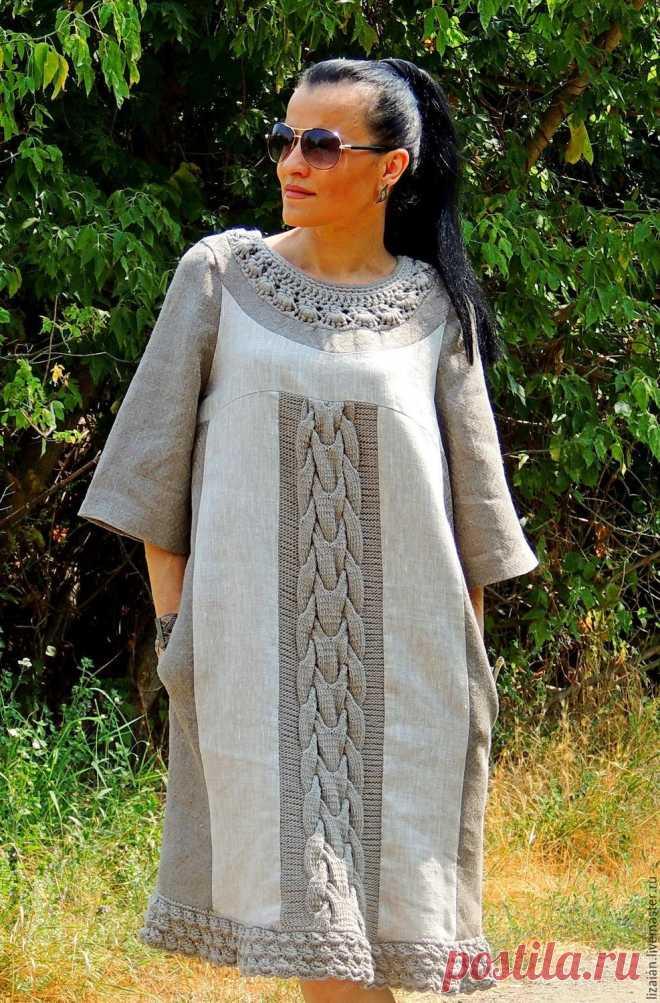Платье прямого кроя из льна и хлопковой пряжи (178) – купить в интернет- eb773efba84