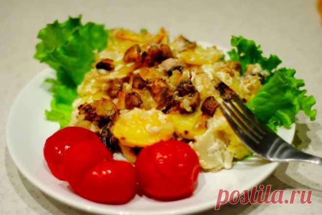 Нежный картофель с шампиньонами в сметане – замечательный ужин!