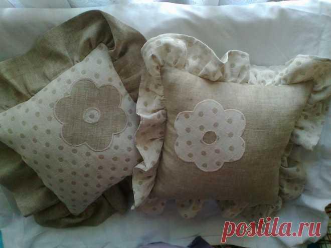 декоративные подушки, лен