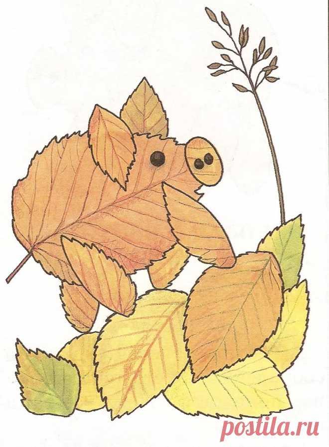 поделки и рисунки из листьев хрупкая молодая женщина