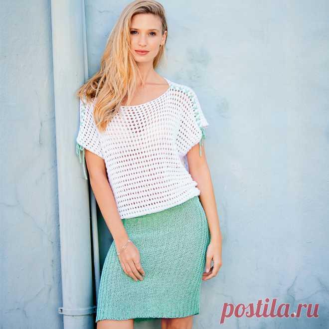 Двухцветное платье - схема вязания спицами с описанием на Verena.ru