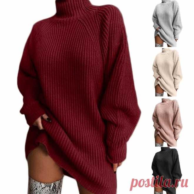 Женское платье свитер средней длины, осень 2020, рукав реглан, водолазка, туника, топы, ребристый вязаный однотонный свободный джемпер большого размера|Водолазки| Детские жаккарды| реглан спицами | готовые выкройки |