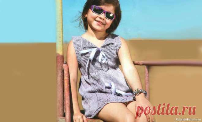 Платье с ленточками на 4-5 лет. Описание   Вязание спицами для детей Летнее платье для девочки 4-5 лет связано спицами, схемы и описание вязания. Красивое, легкое платье прекрасный летний наряд.На 4-5 летВам потребуется:пряжа Lino (25% лен, 75% вискоза, 170 м/50 г) - 200 г серо-сиреневого цвета, спицы №3, крючок №2, 1,5 м атласной ленты.Лицевая гладь: лиц....