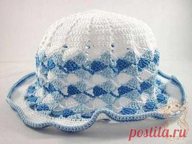 Ажурная шляпа. Верх вяжем по первой схеме,а низ по второй