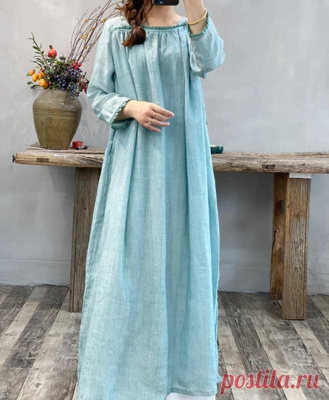 Womens linen long dress linen maxi dress linen kaftan | Etsy